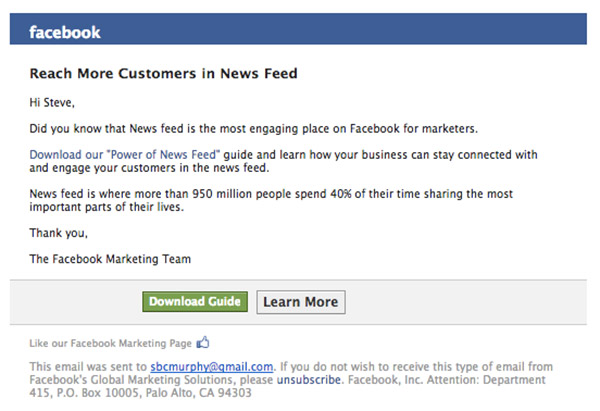 facebook email example